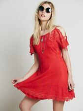 Free People French Quarter Cold Shoulder Crochet Lace Mesh Dress Red S Rare $168