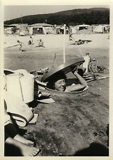 Vintage old photo-snapshot-boat camping beach woman funny-boat woman