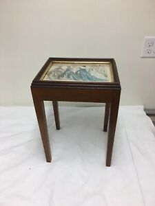 Antique Wood SMALL Side/ Occasional TABLE with GLASS Top