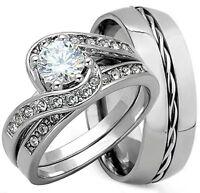 3PCS HIS & HERS TITANIUM & STERLING SILVER .925 WEDDING BRIDAL MATCHING RING SET