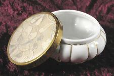 """Vintage Lace Top Matson Porcelain Gold & White Powder Trinket Jewelry Box / 4"""""""