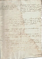 1520 manuscript document oncial writting DAMAGED authentic ORIGINAL
