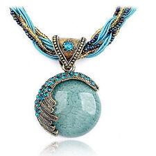 Women Bohemian Gem Pendant Collar Jewelry Statement Retro Rhinestone Necklaces