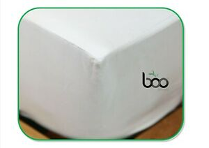 Boo Living Bamboo Luxury Fitted Double Sheet 60% genuine Bamboo 40% Cotton White