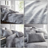 Silver Grey Duvet Cover Shimmer Quartz Textured Jacquard Quilt Covers Bedding