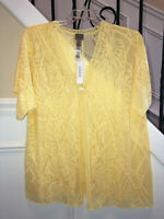 Chico's Easywear Burnout Short Sleeve Jacket Yellow Cream Size 3 (16/18) NWT