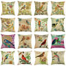Throw Pillow Covers Couch Sofa Outdoor Bench Decorative Bird Flower Pillow Case