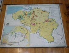 Vintage Mid-century Belgium Industry school wall map in French chart roll down