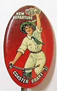 c.1900 NEW DEPARTURE COASTER BRAKE bicycle stickpin stick pin pinback button ^