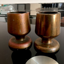 More details for vintage pair heavy solid brass/bronze candle holders candlesticks trench art 1kg