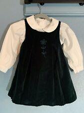 Baby girl Samara white shirt green velvet dress Christmas holidays 3T