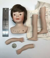 "Porcelain Doll Kit ""Victor� Lois Moorey Mold W/ Arms & Legs Nude & Pattern"