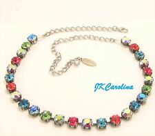 RAINBOW Cup Chain Necklace w/ COLORFUL AB Swarovski Crystals TENNIS Necklace