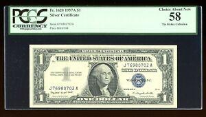 DBR $1 1957-A Silver Fr. 1620 JA Block PCGS 58 Serial J76980702A