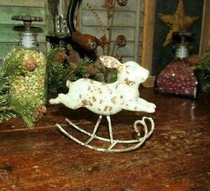 Primitive Antique Vtg Style Verdigris Rabbit Rocking Bunny Shelf Sitter