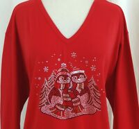PLUS 3X 3/4 Sleeve V-Neck Rhinestone Embellished Christmas Holiday Penguins Top
