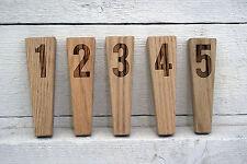 Natural oak wood beer tap handle engraved with numbers .