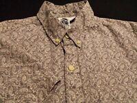 Kennington Mens Large Short Sleeve Button-Down Gray Paisley Hawaiian Shirt