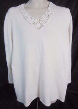 Susan Graver Style Ivory Pull Over Crochet V-Neck Sweater - Women's 2X - B76