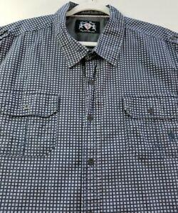 English Laundry Men Short Sleeve Button Up Shirt 4X Blue White Geometric Pocket