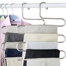 5Barres Pantalon Vêtement Cintre Acier Antidérapant Habit Rangement Armoire FR