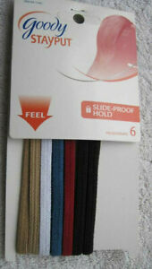 6 Goody Skinny Stay Put Slide Proof Hold Head Band Secure Fit Fabric White Beige