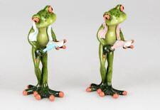 717740 Frosch Paar mit Zahnbürste grün 16cm aus Kunststein mit witzigen Details