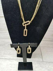 Bijoux Terner Rhinestone Chain Pendant Necklace & Earrings Set