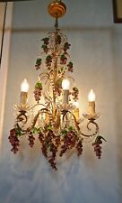 Large 6 Branch Chandelier Hung with Amethyst Grapes