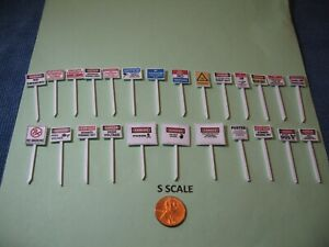 S SCALE 6 ASSORTED WARNING SIGNS SET: NO TRESPASSING,  NO SMOKING, ETC. , NEW