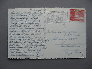 SWITZERLAND, PPC (card Fribourg) 1956, slogan canc. mobile postoffices, car horn