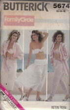 Vintage Uncut 80s Summer Skirt Slacks Bra-Top Pattern 12-14-16~Butterick 5674
