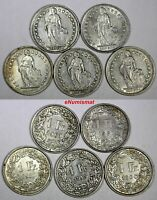 Switzerland Silver LOT OF 5 COINS 1945-1961 1 Franc VF-XF Condition KM# 24