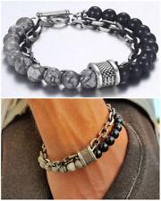 Bracciale catena acciaio uomo con pietra dure in onice nero da braccialetto