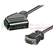 Cavo 2m SCART a VGA convertitore adattatore presa per decoder tv monitor plasma