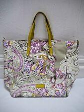 ETRO paisley print canvas leather handle large tote bag handbag CARRIED TWICE