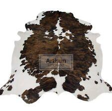 """NEW XLARGE COWHIDE RUG BRINDLE TRICOLOR 6'x5'5"""" Ft Cow Skin Rug Cow Hide Carpet"""