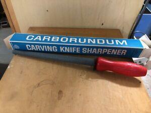 NEW - Vintage No. 76 Carborundum Brand Knife Sharpener Tool RED PLASTIC HANDLE