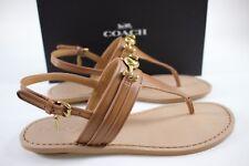 NIB COACH Size 7 Women's Saddle Soft Veg Leather CANDACE T-Strap Ankle Sandal