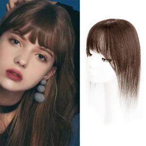 100% Human Hair Air Bangs Clip Remy Human Hair Large Topper Top Piece For Women
