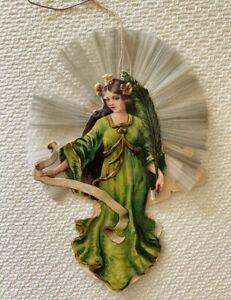 Antique German Christmas Ornament - VICTORIAN DIE CUT - ANGELS Spun Glass Halo