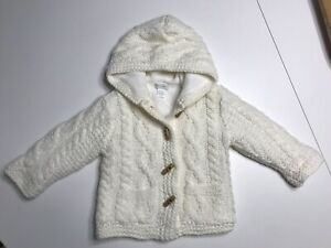first impressions baby girl Cable Knit Fleece Lined Sweater Coat 6-9 Months