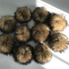 """10pcs /Lot  13cm 5"""" Real Natural Raccoon Fur Ball with Snap Button for DIY Hat"""