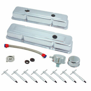 Spectre 54083 for SBC Small Chevy Chrome Kit Valve Covers Breathers T Bars