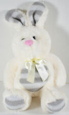 Dan Dee CREAM COLORED EASTER BUNNY RABBIT w/ GRAY STRIPES Stuffed Plush SOFT TOY