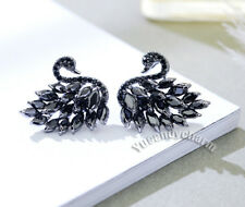 Made in Korea Black White Swan Marquise Cut CZ Earrings 925 Sterling Silver Stud