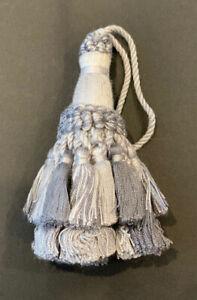 """4&1/2"""" Silver Tied Key Tassel Fabric Trim  Lot Of 2"""