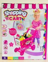 Kids Childrens Shopping Trolley Cart Role Play,Fun with 56 Plastic Fruit Food uk