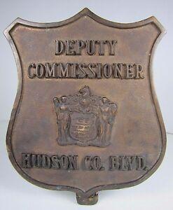 Old Bronze DEPUTY COMMISSIONER HUDSON CO BLVD Badge Plaque Advertising Sign