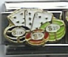 Chips and Playing Cards Casino 9mm Italian Charm Fits Standard Bracelet